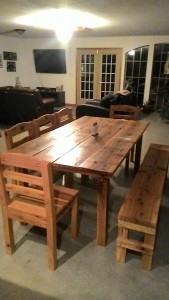 Oak Farm Table w/ chairs and bench